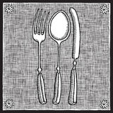Cutlery woodcut Royalty Free Stock Photography
