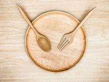 Cutlery Wooden on wooden background with top view. Cutlery Wooden on wooden background Royalty Free Stock Image