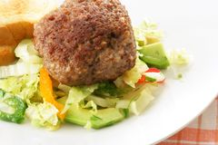 Cutlet. And fresh vegetable salad close-up royalty free stock photos