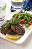 Cutlet with aubergine. Italian cutlet with aubergine and bread Royalty Free Stock Images