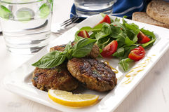 Cutlet with aubergine Royalty Free Stock Photography