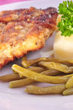 Cutlet with   beans and roasted potato Stock Image
