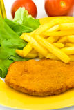 Cutlet,breaded-with french fries Stock Image