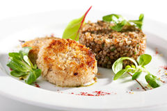 Cutlet with Buckwheat Royalty Free Stock Photos