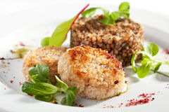 Cutlet with Buckwheat Stock Photography