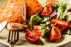 Cutlet Cordon Bleu with salad Royalty Free Stock Images