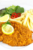 Cutlet with french fries stock photo