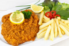 Cutlet with french fries Stock Photos