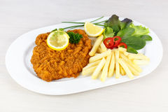 Cutlet with french fries Stock Images