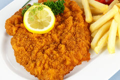 Cutlet with french fries Stock Photography