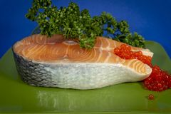 Cutlet of fresh raw salmon stock photo