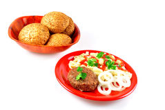 Cutlet fried with macaroni Stock Photo