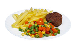 Cutlet with fried potatoes and salad Royalty Free Stock Image