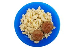 Cutlet macaroni food Royalty Free Stock Photo