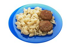 Cutlet macaroni food Stock Photography