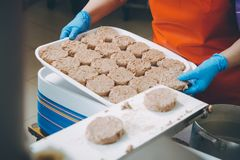 Cutlet making factory. Meat production machine schnitzel stock image