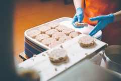 Cutlet making factory stock images