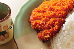 Cutlet pork rice Stock Image