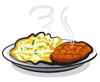 Cutlet with potato. Illustration of the cutlet with mashed potato Royalty Free Stock Image