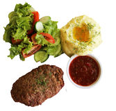Cutlet with potatoes and salad. On a white background Stock Images