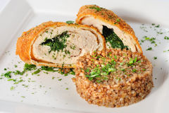 Cutlet of turkey meat with buckwheat cereal Royalty Free Stock Photography