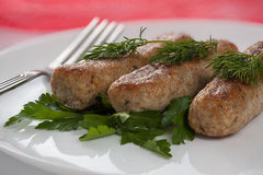 Cutlets βόειου κρέατος με τα λαχανικά Στοκ Εικόνες