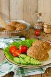 Cutlets με το φαγόπυρο και ένα δευτερεύον πιάτο των λαχανικών Στοκ φωτογραφία με δικαίωμα ελεύθερης χρήσης