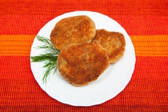 Cutlets. Three cutlets on the white plate Stock Images