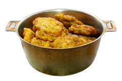 Cutlets. Chicken cutlets in the pan isolated Royalty Free Stock Photos