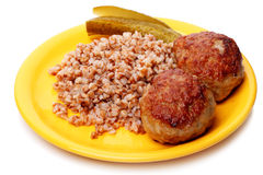 Cutlets with buckwheat Stock Images