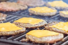 Cutlets with cheese close-up fast food street royalty free stock photography