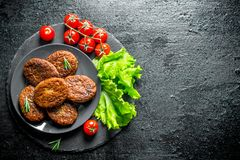 Cutlets with cherry tomatoes and salad leaves. On black rustic background stock images