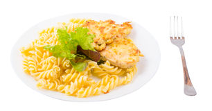 Cutlets with chicken and macaroni Stock Photography