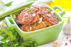 Cutlets. Fresh fried homemade cutlets with garlic and greens Royalty Free Stock Image