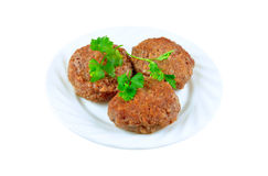 The cutlets fried. In oil with greens lay on a white plate Royalty Free Stock Photos