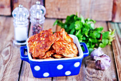 Cutlets. Fried cutlets from chicken in the bowl Stock Image