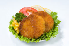 Cutlets And Greenery Stock Photos