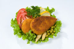 Cutlets And Greenery Stock Image