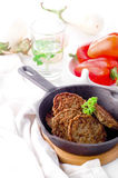 Cutlets from the liver. Hepatic fritters. Royalty Free Stock Images