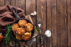 Cutlets. Meat cutlets in frying pan Royalty Free Stock Photography