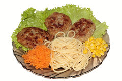 Cutlets with the mixed garnish Stock Photography