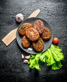 Cutlets on a plate with garlic, salad leaves and wooden spatula. On black rustic background royalty free stock photos