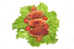 Cutlets on salad leaves Royalty Free Stock Image