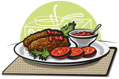 Cutlets and sauce royalty free illustration