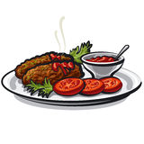 Cutlets with sauce Royalty Free Stock Images