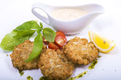 Cutlets with sauce and vegetables Royalty Free Stock Images
