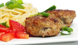Cutlets with spagetti Royalty Free Stock Image
