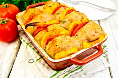 Cutlets of turkey in pan on board Stock Images