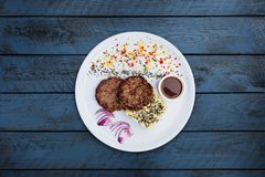 Cutlets from veal with mashed potatoes. royalty free stock photo