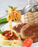 Cutlets With The Vermicelli. Stock Photos